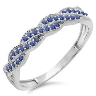 0.25 Carat (ctw) 10k White Gold Round Blue Sapphire Ladies Anniversary Wedding Stackable Band Swirl Ring 1/4 CT