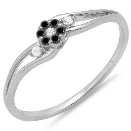 0.10 Carat (ctw) 18k White Gold Round White & Black Diamond Ladies Bridal Swirl Split Shank Cluster Promise Ring 1/10 CT