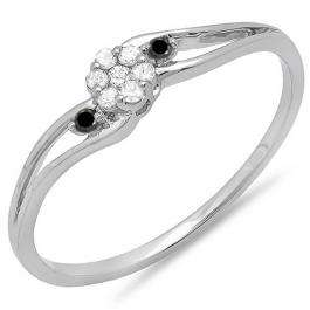 0.10 Carat (ctw) 10k White Gold Round White & Black Diamond Ladies Bridal Swirl Split Shank Cluster Promise Ring 1/10 CT