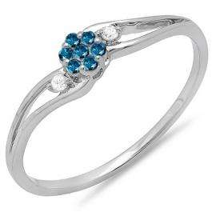 0.10 Carat (ctw) 14k White Gold Round White & Blue Diamond Ladies Bridal Swirl Split Shank Cluster Promise Ring 1/10 CT