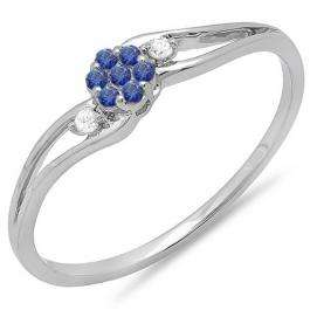 0.10 Carat (ctw) 18k White Gold Round White Diamond & Blue Sapphire Ladies Bridal Swirl Split Shank Cluster Promise Ring 1/10 CT