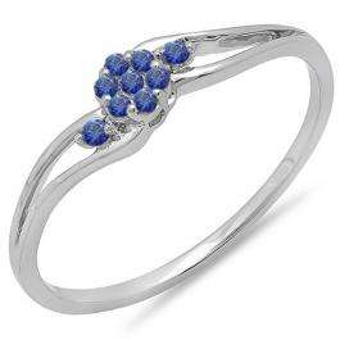 0.10 Carat (ctw) 14k White Gold Round Blue Sapphire Ladies Bridal Swirl Split Shank Cluster Promise Ring 1/10 CT