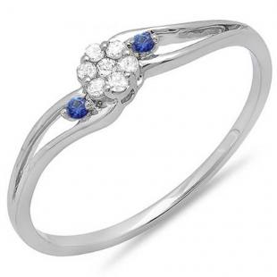 0.10 Carat (ctw) 10k White Gold Round White Diamond & Blue Sapphire Ladies Bridal Swirl Split Shank Cluster Promise Ring 1/10 CT