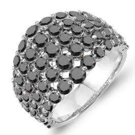 3.25 Carat (ctw) 18k White Gold Round Black Diamond Ladies Cocktail Right Hand Ring 3 1/4 CT
