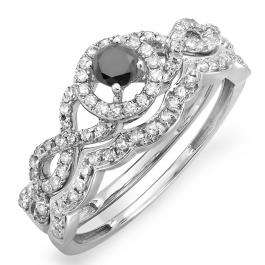 0.60 Carat (ctw) 10k White Gold Round Black & White Diamond Ladies Halo Style Bridal Engagement Ring Matching Band Set