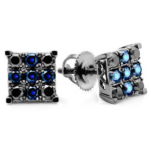 1.00 Carat (ctw) 14k White Gold Round Blue Sapphire & Black Diamond Men's Square Shaped Stud Earrings 1 CT