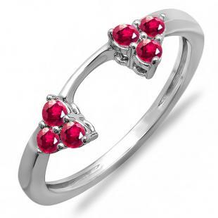 0.30 Carat (ctw) 10K White Gold Round Ruby Ladies Anniversary Wedding Ring Matching Guard Band 1/3 CT