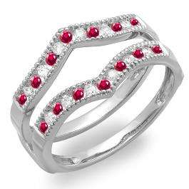 0.45 Carat (ctw) 14k White Gold Round Ruby & White Diamond Ladies Millgrain Anniversary Wedding Band Guard Double Ring 1/2 CT