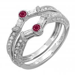 0.55 Carat (ctw) 10k White Gold Round & Baguette Ruby And White Diamond Ladies Anniversary Wedding Enhancer Guard Band 1/2 CT