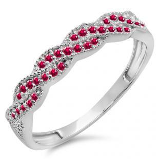 0.25 Carat (ctw) 18k White Gold Round Ruby Ladies Anniversary Wedding Stackable Band Swirl Ring 1/4 CT