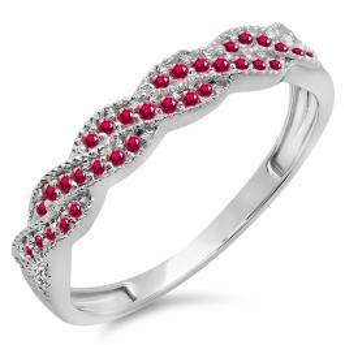 0.25 Carat (ctw) 14k White Gold Round Ruby Ladies Anniversary Wedding Stackable Band Swirl Ring 1/4 CT