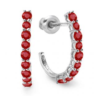 0.50 Carat (ctw) 10K White Gold Round Ruby Ladies Fancy J Shaped Hoop Earrings 1/2 CT