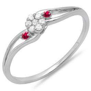 0.10 Carat (ctw) 10k White Gold Round Ruby And White Diamond Ladies Bridal Swirl Split Shank Cluster Promise Ring 1/10 CT