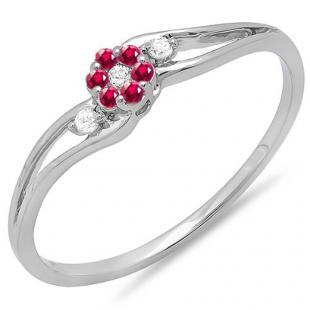 0.10 Carat (ctw) 18k White Gold Round Ruby And White Diamond Ladies Bridal Swirl Split Shank Cluster Promise Ring 1/10 CT