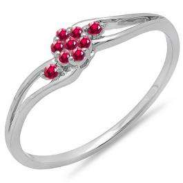 0.10 Carat (ctw) 14k White Gold Round Ruby Ladies Bridal Swirl Split Shank Cluster Promise Ring 1/10 CT