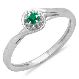 0.12 Carat (ctw) 14K White Gold Round Cut Green Emerald Ladies Twisted Style Solitaire Bridal Promise Ring