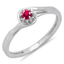 0.12 Carat (ctw) 14K White Gold Round Cut Ruby Ladies Twisted Style Solitaire Bridal Promise Ring