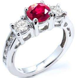 1.80 Carat (ctw) 18k White Gold Round Red Ruby And White Diamond Ladies Bridal Engagement Ring