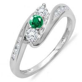 0.50 Carat (ctw) 14k White Gold Round White Diamond And Green Emerald Ladies Swirl Engagement 3 Stone Bridal Ring 1/2 CT