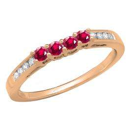 0.40 Carat (ctw) 14K Rose Gold Round Ruby & White Diamond Ladies Contour Anniversary Wedding Stackable Band Guard Ring