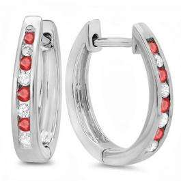 0.20 Carat (ctw) 18K White Gold Round White Diamond And Ruby Ladies Hoop Earrings 1/5 CT