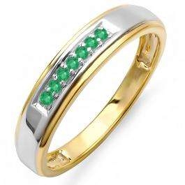 0.12 Carat (ctw) 18K Yellow Gold Plated Sterling Silver Round Green Emerald Men's Seven Stone Wedding Band