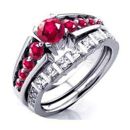 1.75 Carat (ctw) 10k White Gold Princess & Round Ruby and White Moissanite Ladies Bridal Engagement Ring Set 1 3/4 CT