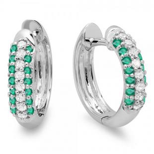 0.30 Carat (ctw) 10k White Gold Round Green Emerald & White Diamond Ladies Pave Set Huggies Hoop Earrings 1/3 CT