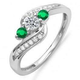 0.50 Carat (ctw) 10k White Gold Round Green Emerald And White Diamond Ladies Swirl Engagement 3 Stone Bridal Ring 1/2 CT