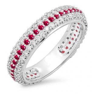 1.30 Carat (ctw) 14K White Gold Round White Diamond & Ruby Ladies Pave Set Anniversary Wedding Eternity Ring Band 1 1/3 CT