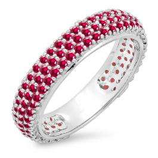 1.30 Carat (ctw) 10K White Gold Round Ruby Ladies Pave Set Anniversary Wedding Eternity Ring Band 1 1/3 CT