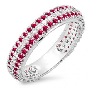 1.30 Carat (ctw) 18K White Gold Round White Diamond & Ruby Ladies Pave Set Anniversary Wedding Eternity Ring Band 1 1/3 CT