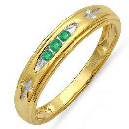 0.15 Carat (ctw) 18K Yellow Gold Plated Sterling Silver 3 Stone Round Green Emerald Cross Design Men's Band Ring