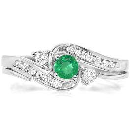 0.50 Carat (ctw) 18k White Gold Round Green Emerald And White Diamond Ladies Swirl Bridal Engagement Ring Matching Band Set 1/2 CT