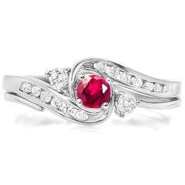 0.50 Carat (ctw) 18k White Gold Round Ruby And White Diamond Ladies Swirl Bridal Engagement Ring Matching Band Set 1/2 CT