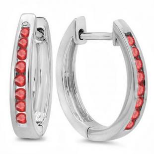 0.20 Carat (ctw) 10K White Gold Round Ruby Ladies Hoop Earrings 1/5 CT