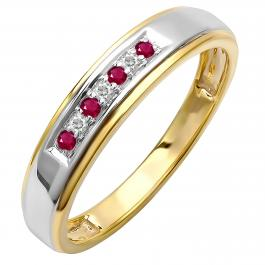 0.12 Carat (ctw) 18K Yellow Gold Plated Sterling Silver Round White Diamond And Ruby Men's Seven Stone Wedding Band