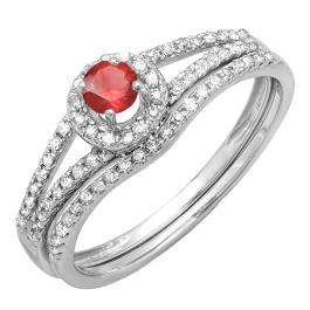 0.45 Carat (ctw) 10k White Gold Round Ruby And White Diamond Ladies Bridal Halo Style Engagement Ring With Wedding Band Set 1/2 CT