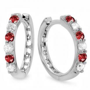 0.33 Carat (ctw) 10k White Gold Round Ruby & White Diamond Ladies Huggies Hoop Earrings 1/3 CT