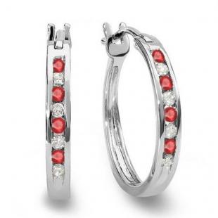 0.20 Carat (ctw) 10K White Gold Round White Diamond & Ruby Ladies Fine Hoop Earrings 1/5 CT