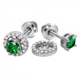 1.10 Carat (ctw) 10k White Gold Round Green Emerald & White Diamond Ladies Halo Stud Earrings With Removable Jackets 1 1/10 CT