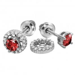 1.10 Carat (ctw) 18k White Gold Round Ruby & White Diamond Ladies Halo Stud Earrings With Removable Jackets 1 1/10 CT