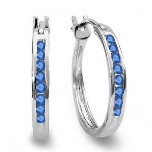 0.20 Carat (ctw) 10K White Gold Round Blue Sapphire Ladies Fine Hoop Earrings 1/5 CT