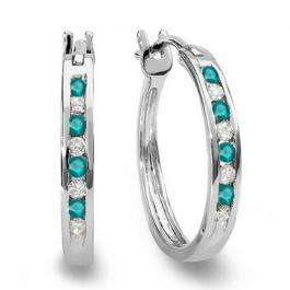 0.20 Carat (ctw) 18K White Gold Round White And Blue Diamond Ladies Fine Hoop Earrings 1/5 CT