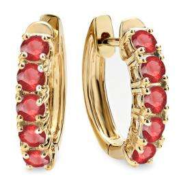 1.00 Carat (ctw) 18K Yellow Gold Round Ruby Ladies Huggies Hoop Earrings 1 CT