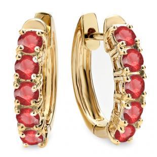 1.00 Carat (ctw) 18K Yellow Gold Round Ruby Ladies Huggies Hoop Earrings 1 CT
