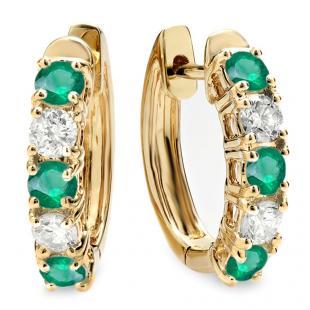 1.00 Carat (ctw) 14K Yellow Gold Round Green Emerald & White Diamond Ladies Huggies Hoop Earrings 1 CT