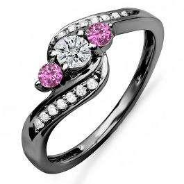 0.50 Carat (ctw) Black Rhodium Plated 10k White Gold Round Pink Sapphire And White Diamond Ladies Bridal Swirl Engagement 3 Stone Ring 1/2 CT