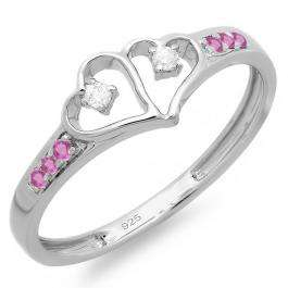 0.15 Carat (ctw) Sterling Silver Round Pink Sapphire & White Diamond Ladies Promise Double Heart Love Engagement Ring