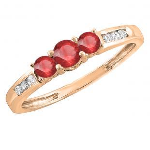 14K Rose Gold Round Ruby & White Diamond Ladies 3 stone Engagement Ring